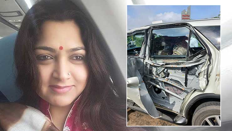 Actor-politician Khushbu Sundar escapes an accident; shares pictures of her damaged car | Bollywood Bubble