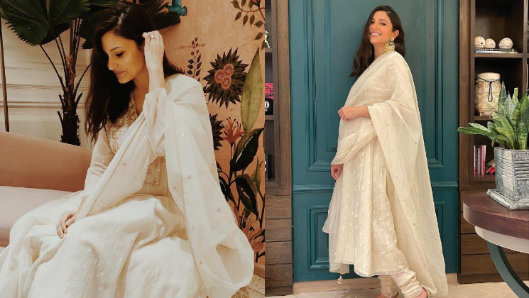 Anushka Sharma flaunts her baby bump as she looks ethereal in an off-white suit for Diwali celebration | Bollywood Bubble